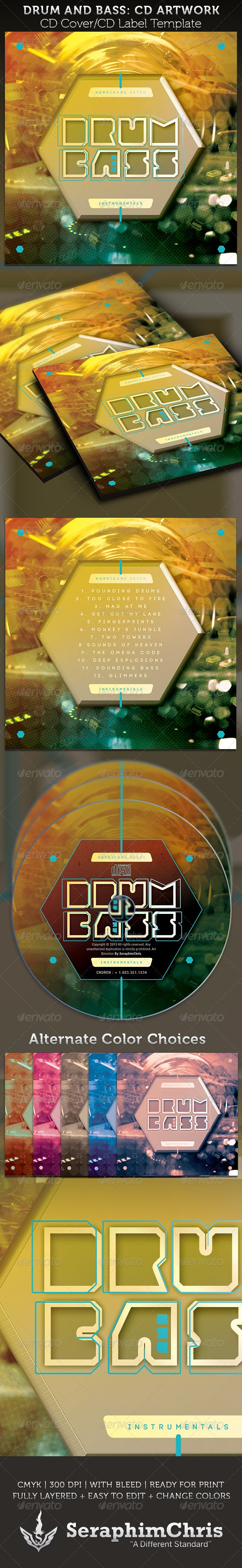 Drum and Bass CD Cover Artwork Template — Photoshop PSD #bass music #demo • Available here → https://graphicriver.net/item/drum-and-bass-cd-cover-artwork-template/3856254?ref=pxcr