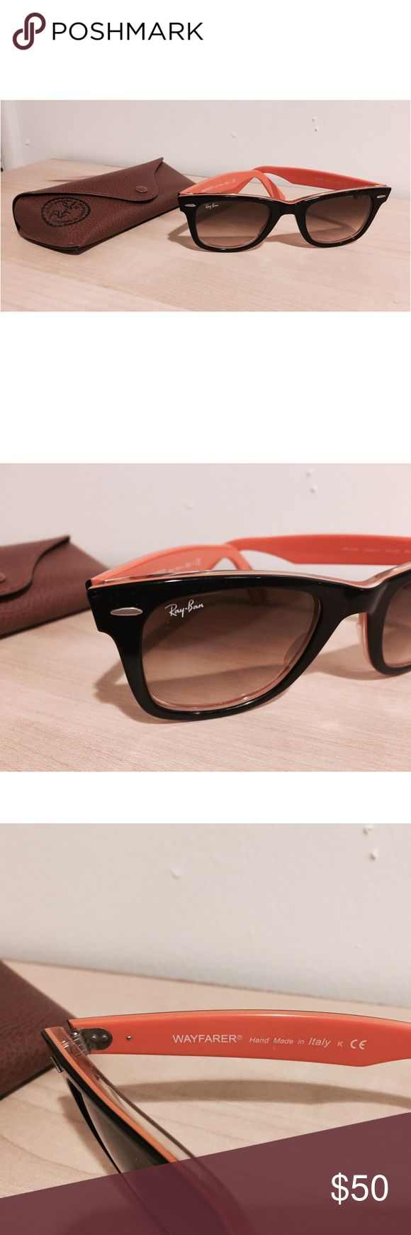Ray-Ban Wayfarer Black/Orange Sunglasses RB2140 Basically New! No scratches. Only worn a handful of times. See photos for sizing information. Comes with original cleaning cloth and case. Model upon request! Please ask if you need any specific measurements 😊  Purchased at Sunglass Hut! Ray-Ban Accessories Sunglasses
