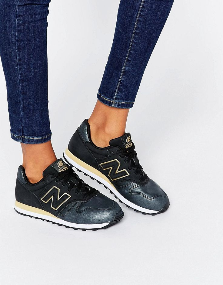 best service d5d31 9d718 new balance 373 trainers in black with rose gold trim