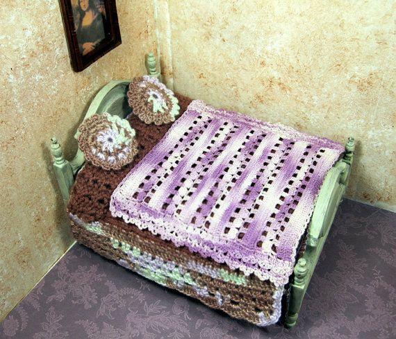 Miniature crochet lot brown purple bedspread by PugcentricPursuits