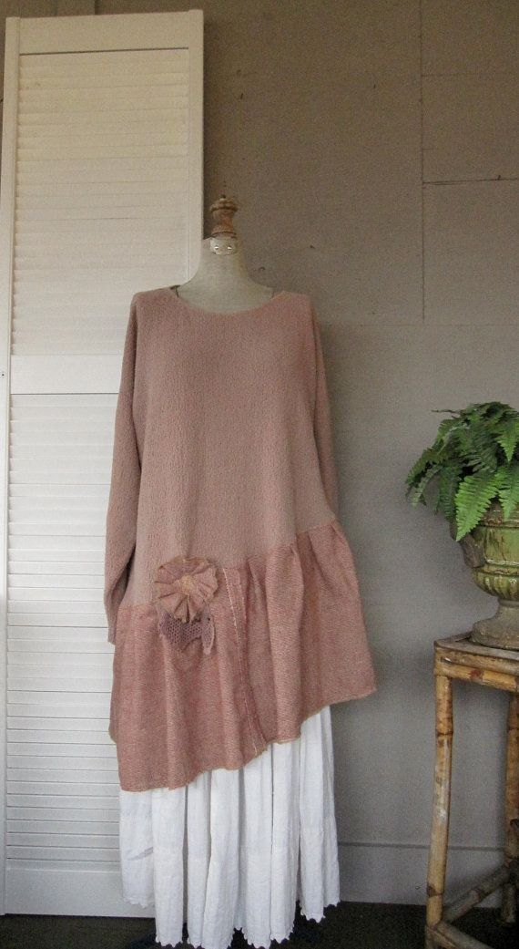 L XL 1X 2X upcycled clothing Sweater dress Artsy tattered Top Eco recycled tunic casual urban Rustic ranch prairie Shabby chic Bohemian