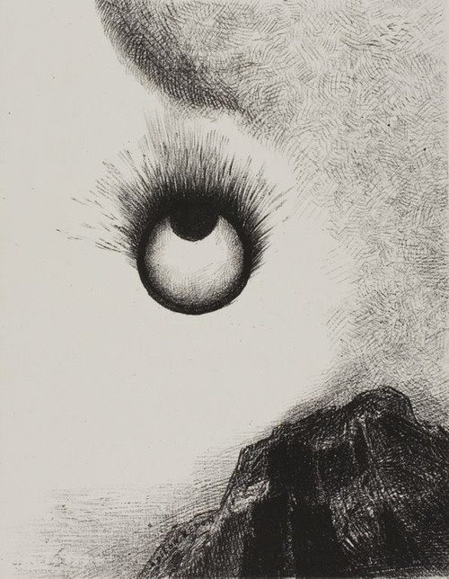 Odilon Redon [1840-1916], Everywhere eyeballs are aflame, plate 9 from The Temptation of Saint Anthony (1st series), 1888.