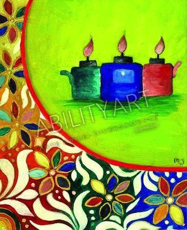 """Mat Jamil Bin Ramli è originario della Malesia. Ha creato l'opera """"Lampade ad olio"""" con l'utilizzo esclusivo del piede. La tecnica utilizzata è quella ad olio, ed il formato originale è 34x28 cm.  https://www.abilityart.it/lampade-ad-olio.html"""