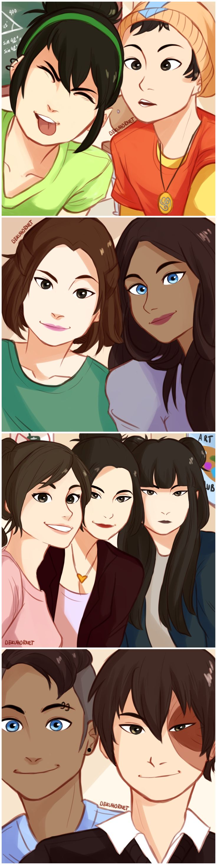 some modern au selfies at school