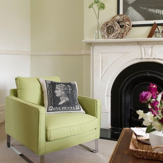 Lime Green And White Living Room