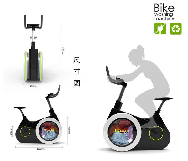 Le Bike Washing Machine  Le designer Li Huan a lancé un projet alliant sport et économie d'énergie nommé Bike Washing Machine pour laver son linge sale. La machine à laver écologique du futur ?  Le concept du designer chinois Li Huan est simple : coupler un vélo d'appartement à un tambour de machine à laver. Pour laver son linge, il faut donc pédaler car c'est la seule source d'énergie qui permet de faire fonctionner la machine.