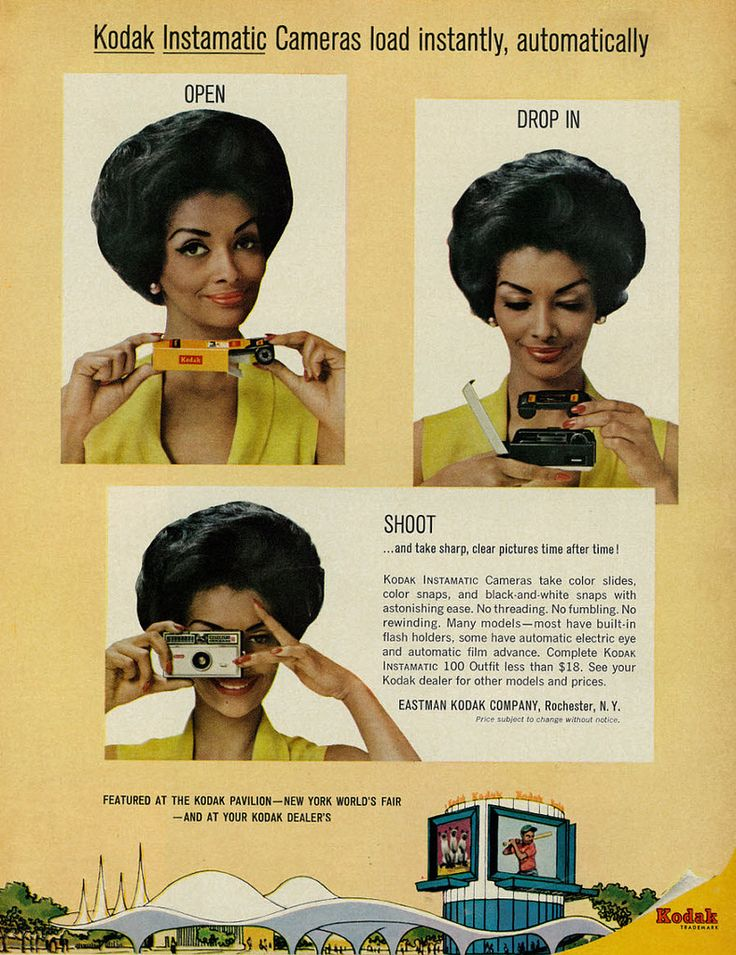 """Tagline: """"Kodak Instamatic Cameras load instantly, automatically - Open - Drop In - Shoot... and take sharp, clear pictures time after time!""""  Caption below photos, above NY World's Fair illustration: """"Featured at the Kodak Pavilion - New York World's Fair - and at your Kodak dealers""""  Published in Ebony, August 1964 - Vol 19, No. 10  Fair use/no known copyright. If you use this photo, please provide attribution credit; not for commercial use (see Creative Commons license)."""