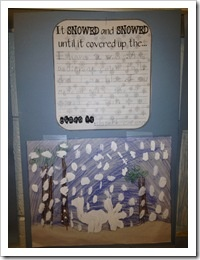 Dream Snow predictions - write clues to guess the covered animal. For the art, draw the animal and then cover that picture with transparency film. Paint a white blob of snow over the animal and add snowflakes.