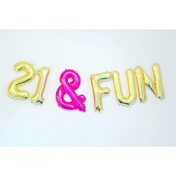 21 & FUN Balloons Number 21 Balloons 21st Birthday by girlygifts07