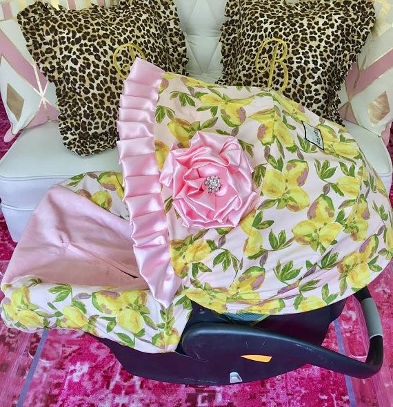 Lemon Car Seat Covers, Pink Lemons Infant Car Seat Covers, Pink Infant Seat Covers, Car Seat Covers for Girls, Baby Pink CarSeat Covers