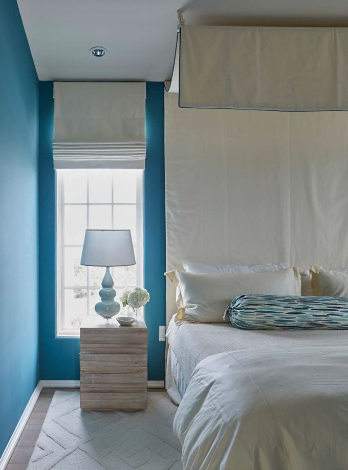 blue and white bedroom by melanie turner interiors