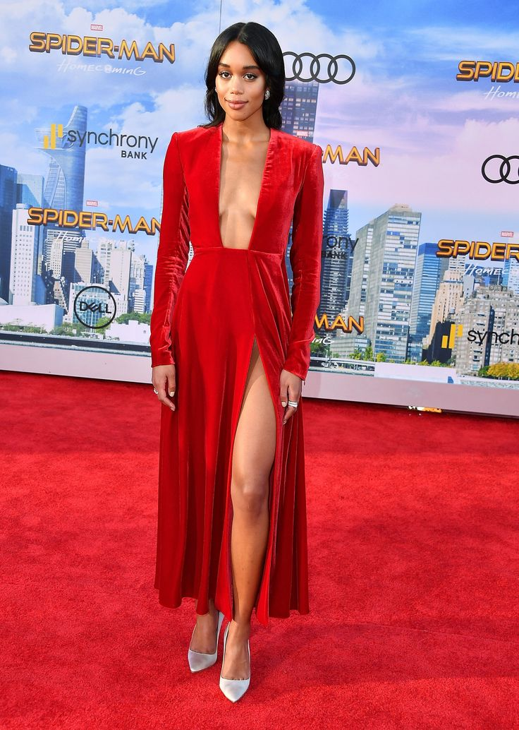 Laura Harrier, in Calvin Klein by Appointment, arrives at the Premiere Of Columbia Pictures' Spider-Man: Homecoming at TCL Chinese Theatre on June 28, 2017 in Hollywood, California.