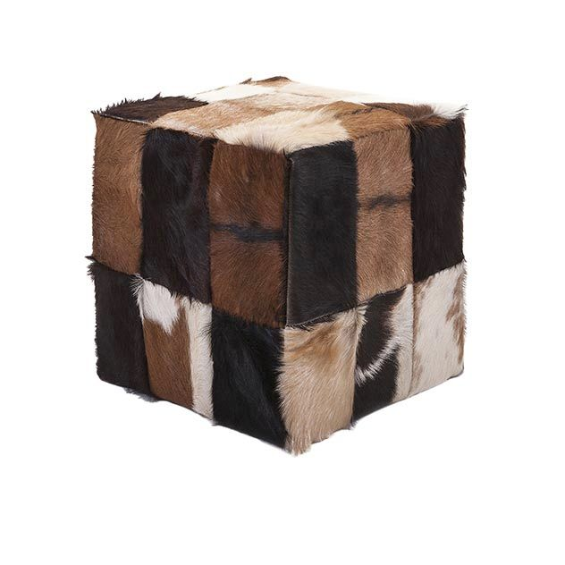 Andros Animal Hide Cube Ottoman - Accent modern Scandinavian style with this natural hair-on-hide cube ottoman in earth tones.