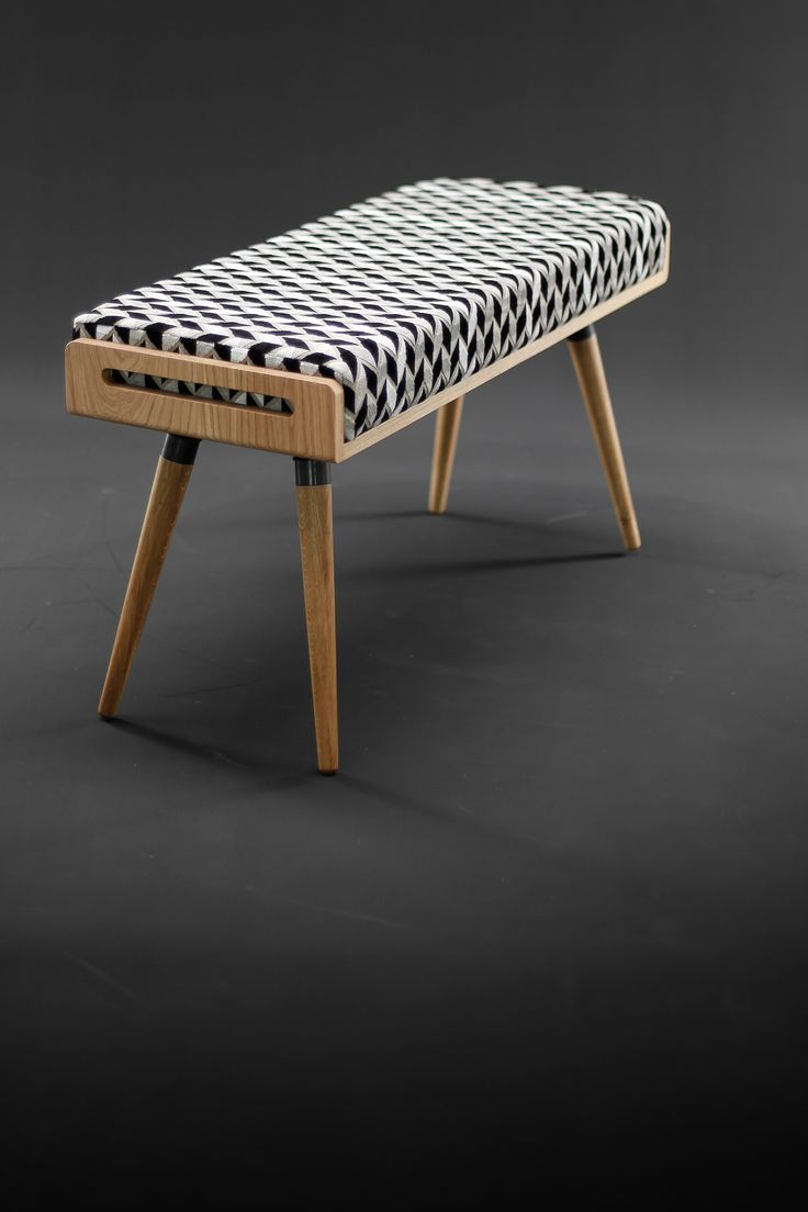 Oak bench with arrows cushion fabric on Behance