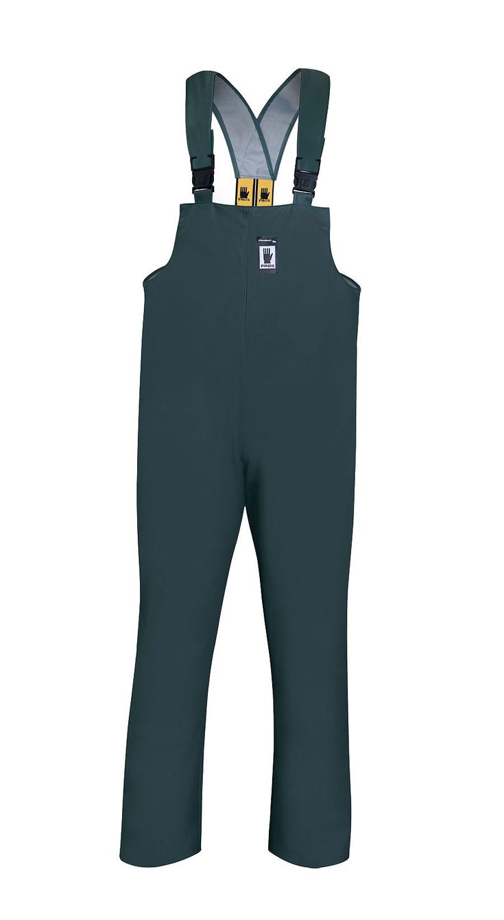 WATERPROOF BIBPANTS Model: 001 The bibpants have adjustable elasticated braces. The product is made of PVC/polyester fabric, called Plavitex. Thanks to double welded high frequency seams the product protects against rain and wind. The bibpants conform to EN ISO 13688 and EN 343 standards.