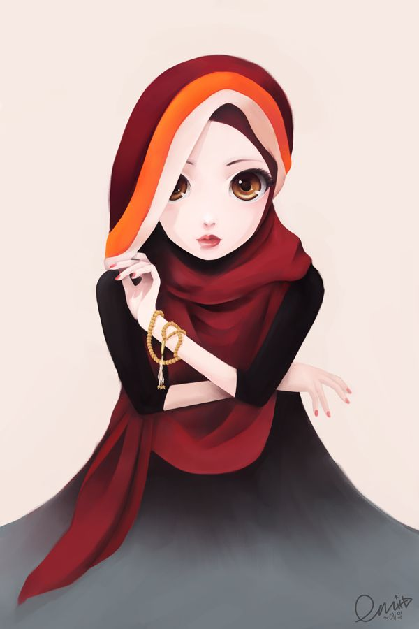 Hijabi Muslimah With Anime Style Eyes - Drawings | IslamicArtDB.com
