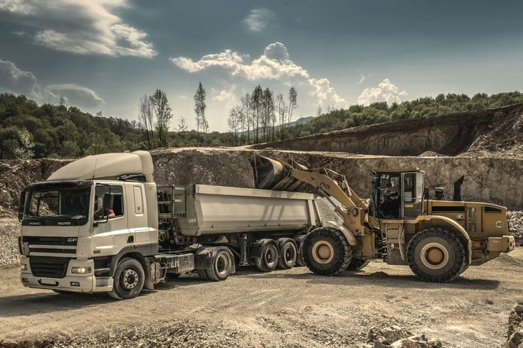 #drive #driver #engine #excavator #heavy #loader #lorry #machine #machinery #quarry #sand #semi trailer truck #shipment #soil #tractor #trailer #transportation system #trees #truck #vehicle #wheel