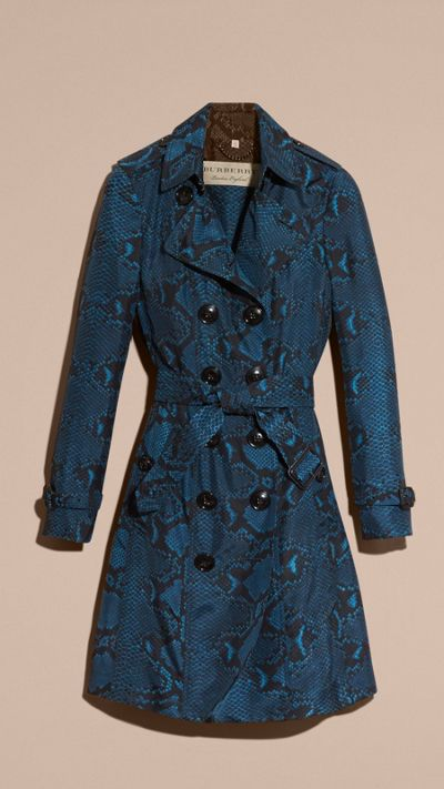 Mineral blue Python Print Silk Trench Coat 4