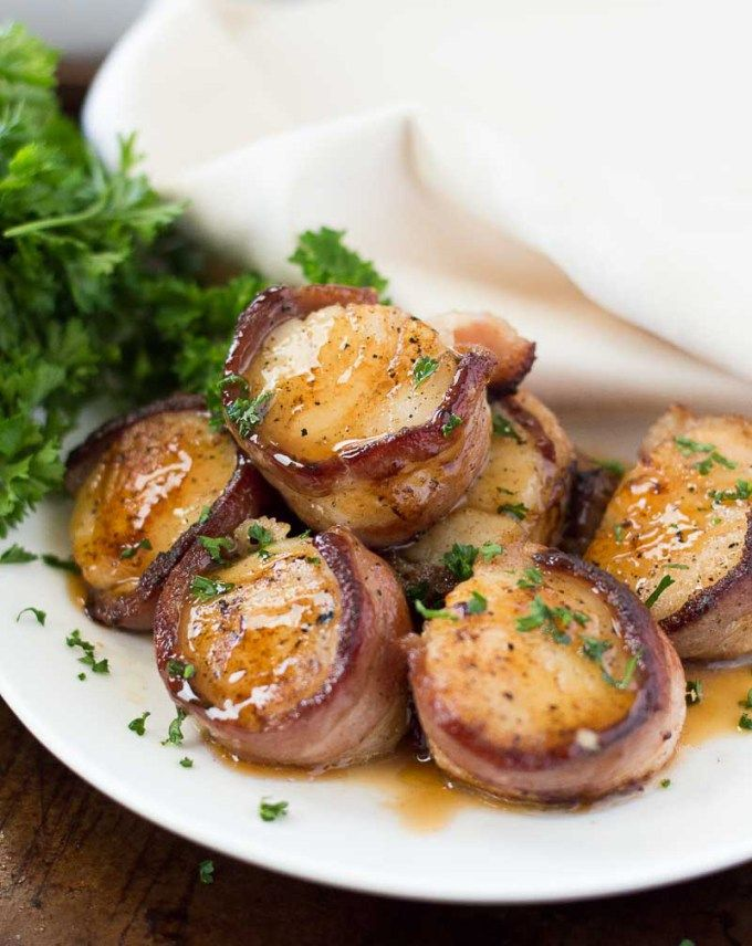 Bacon Wrapped Scallops with a Peach Bourbon Glaze ...
