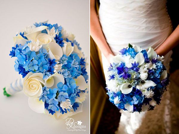 свадебные букеты синий с белым