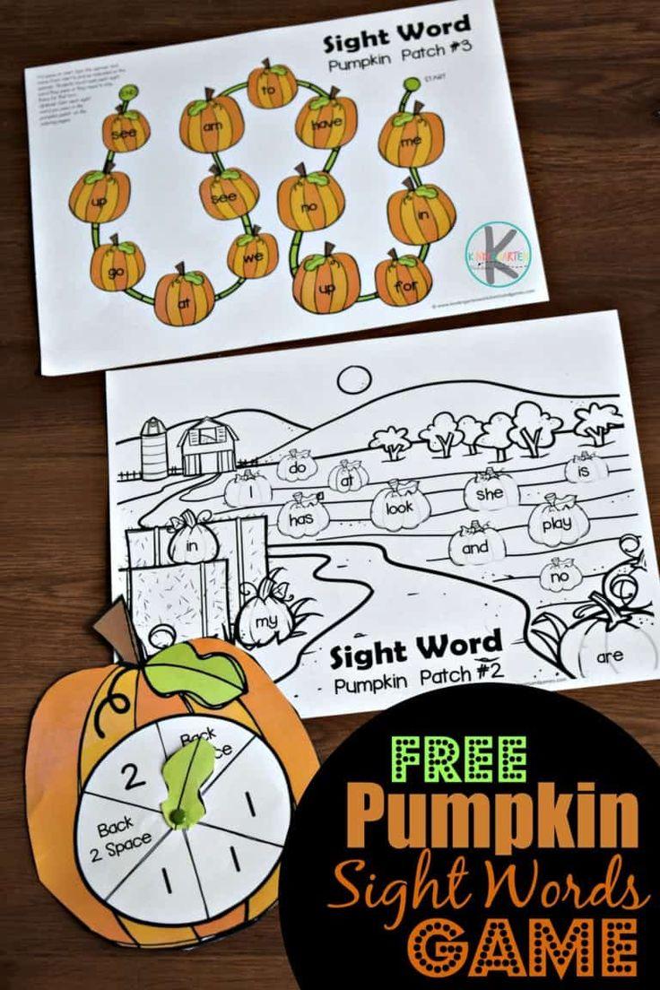 Pumpkin Sight Words Game Sight word games, Kindergarten