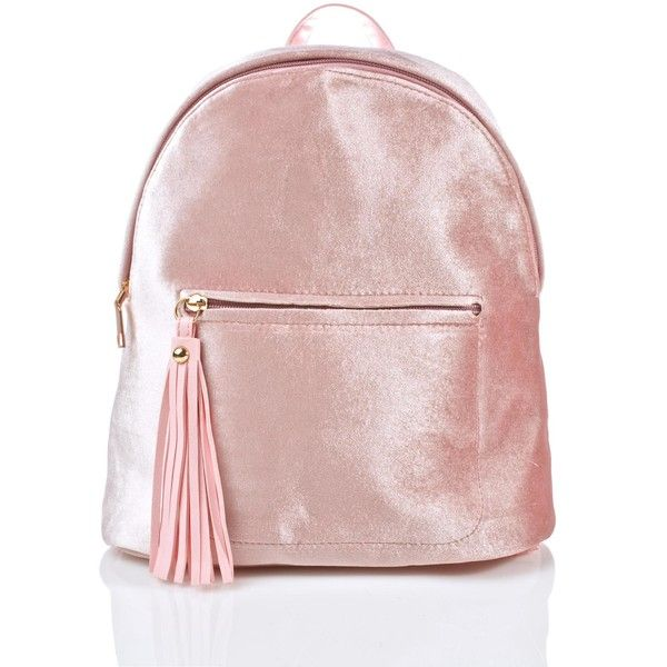 Pink Satin Trendy Backpack found on Polyvore featuring bags, backpacks, bolsas, pink mini backpack, zip top bag, miniature backpack, rucksack bags and pink backpack