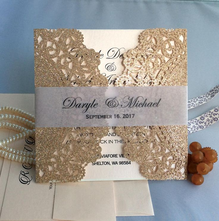 golden wedding invitations%0A V   Personalized rose gold glitter lace laser cut pocket gate folding w   printed vellum band