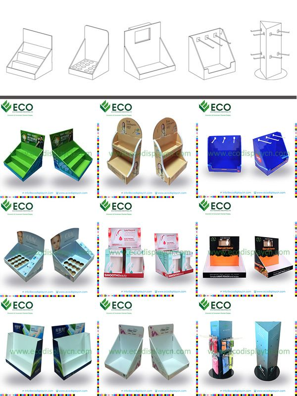 Creative Cosmetic Point of Sale Display with Cardboard Material, Cosmetic Floor Display