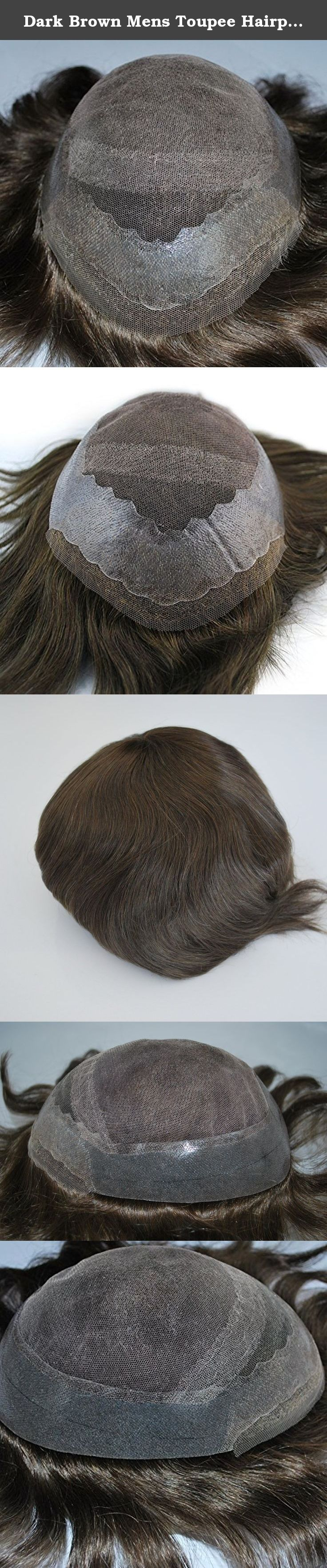 Dark Brown Mens Toupee Hairpiece Hair System 100% Human Hair #3 Color. Ready Made Toupee for Men Base Type: French Lace with PU all around, with lace in the front .Hair Style: Free style Hair Color: #3- medium brown Hair Length:6 inch Hair Density: Medium 130% Base Size:10x7.5 inch, can be cut to 9x7inch Hair Type: 100% remy human hair.