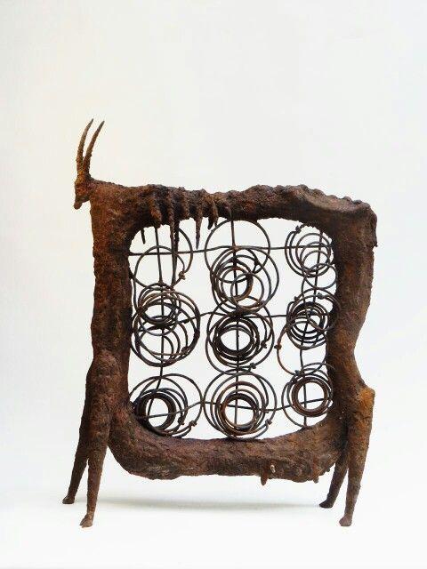 """""""SPRINGBOK""""                 ceramic/steel                                                      by Klaus Dusselberg"""