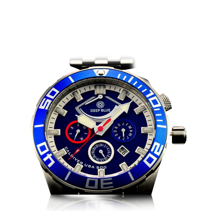 Deep Blue - Cal diver USA 500 - Month, Day, Date, 24 hour + Power reserve, Divers Wet-suit extension, Exhibition case-back Silk Screen USA Flag , Superluminova hour markers hands and Pip, 120 click unidirectional ratchet bezel