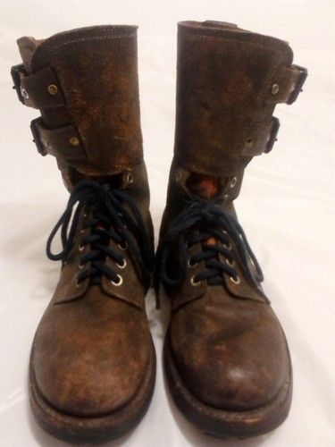 Vintage Steel Toe Army Leather Boots Size 7M by B Massin s A Rennes | eBay