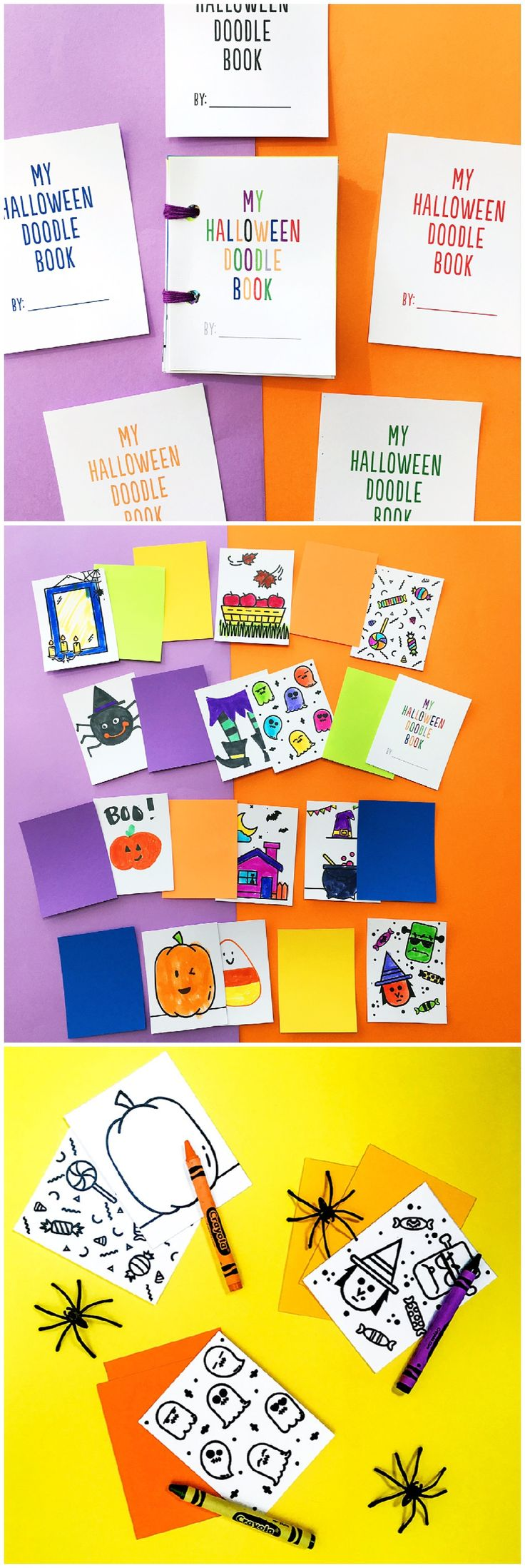 DIY Mini Halloween Doodle Books Free Printables. Cute Halloween art project for kids or non-candy Halloween favors.