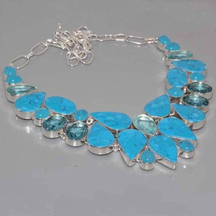 collier plastron en argent, jaspe mosaïque bleu, calcédoine et quartz bleu de la boutique AmanaraBoutique sur Etsy