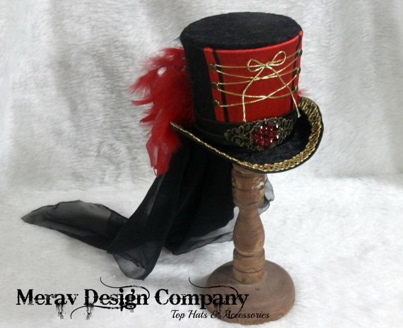 Ring Master Hat Red Black Mini Top Hat By