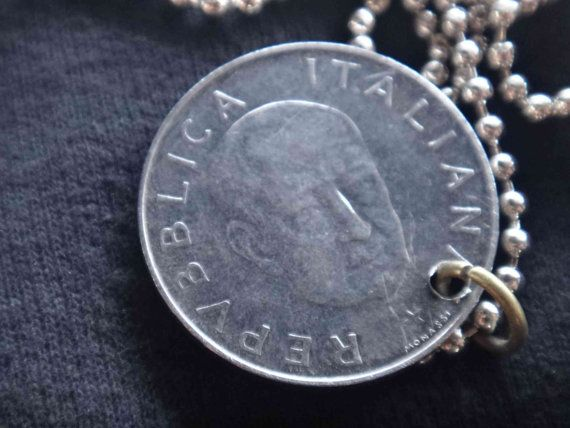 Coin Jewelry Necklace Italy Italian Vintage 1974 100 by GalleryLF, $9.95