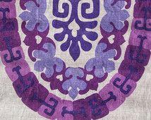 Polynesian Purple, Lavender Periwinkle Waikiki Ulster Irish Dishtowel Mid-Century Hawaii Linen Vintage Tropical Graphic Textile Souvenir