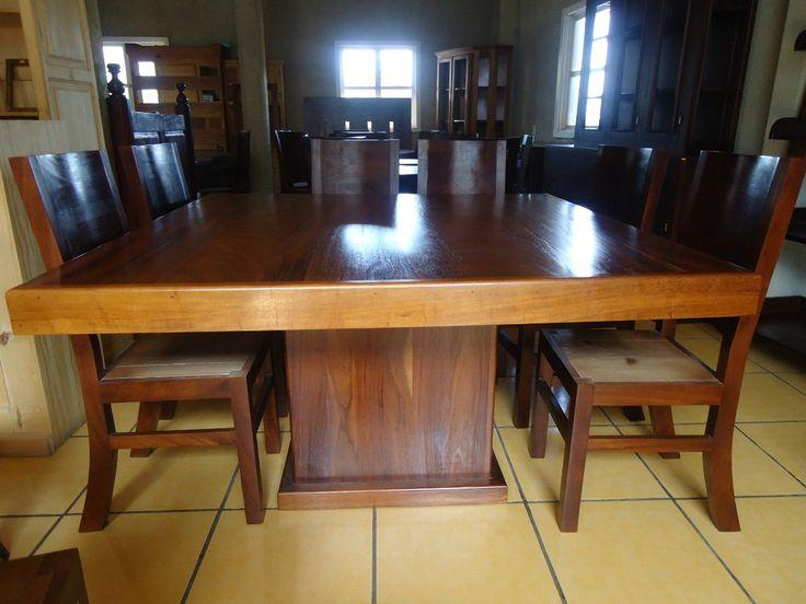 1) mesa comedor cuadrada con 8 sillas madera parota solida ...