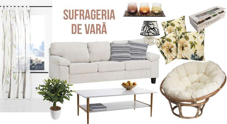 Draperii vaporoase, o canapea confortabilă, ghivece cu flori și decoruri cu imprimeuri florale: spațiul ideal în care să servești un o limonadă rece vara. #livingroom #inspiration #decoration #deco #furniture #decoinspiration