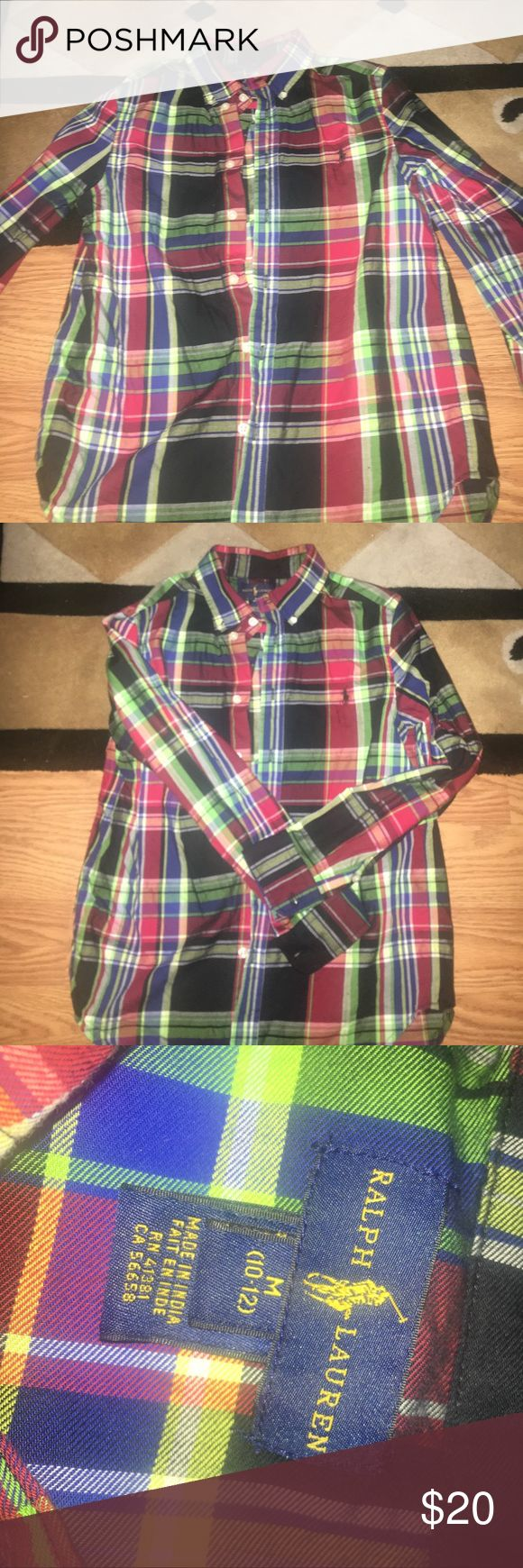 Polo Ralf Lauren boys shirt Plaid medium 10-12 boys Polo long sleeve boys dress shirt. Onlyhas been one time. In perfect condition Polo by Ralph Lauren Shirts & Tops Polos