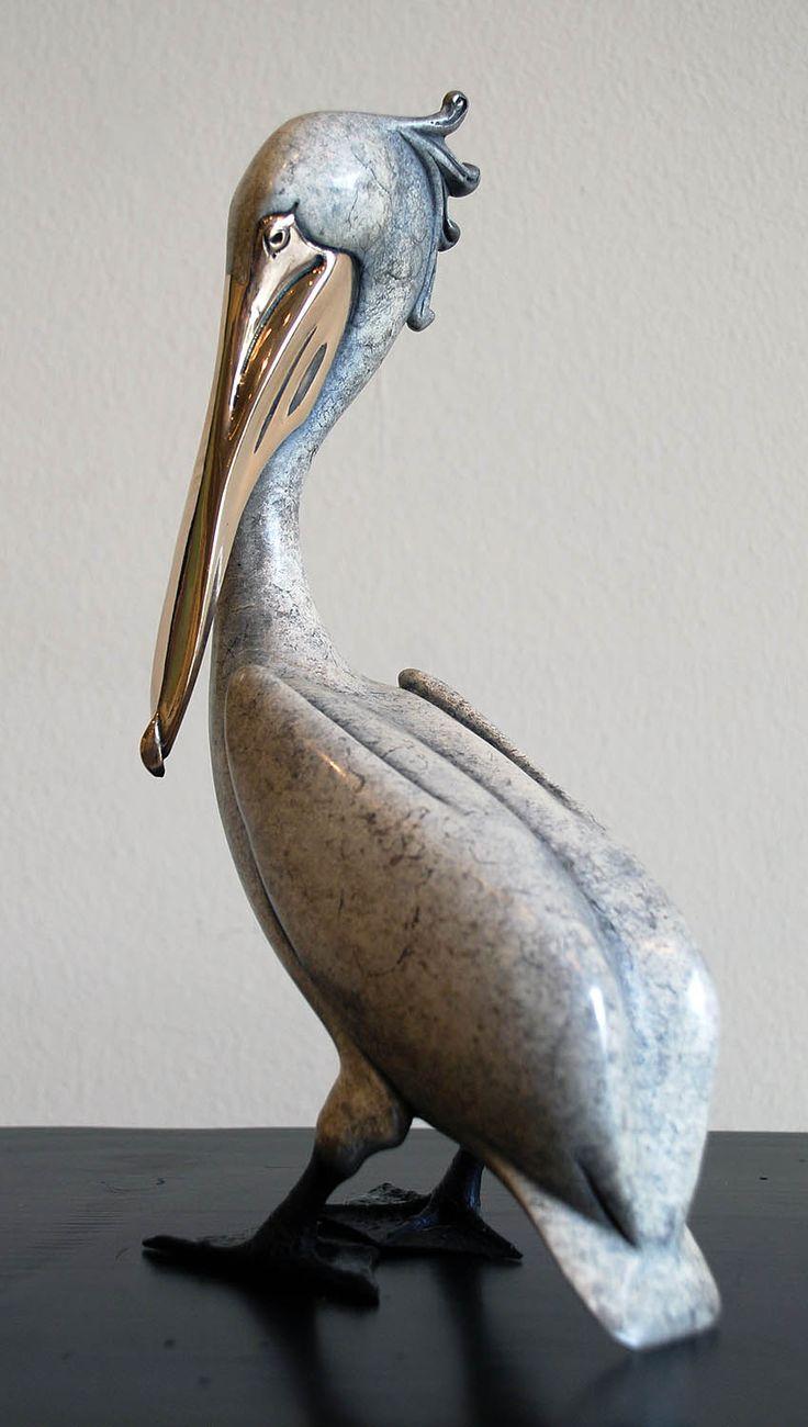 Silver Standing Pelican