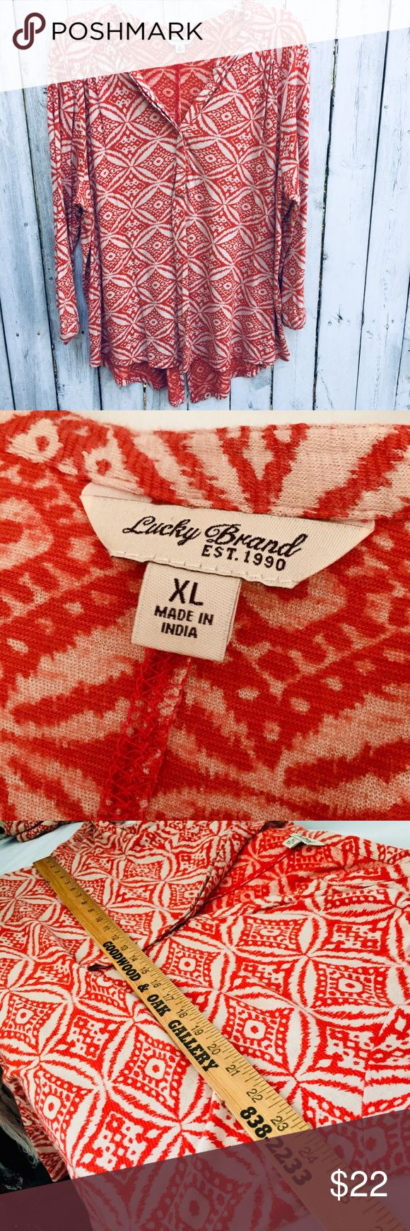 Lucky brand red tunic top Xl Lucky brand tunic top extra large red print excellent condition Tops Tunics