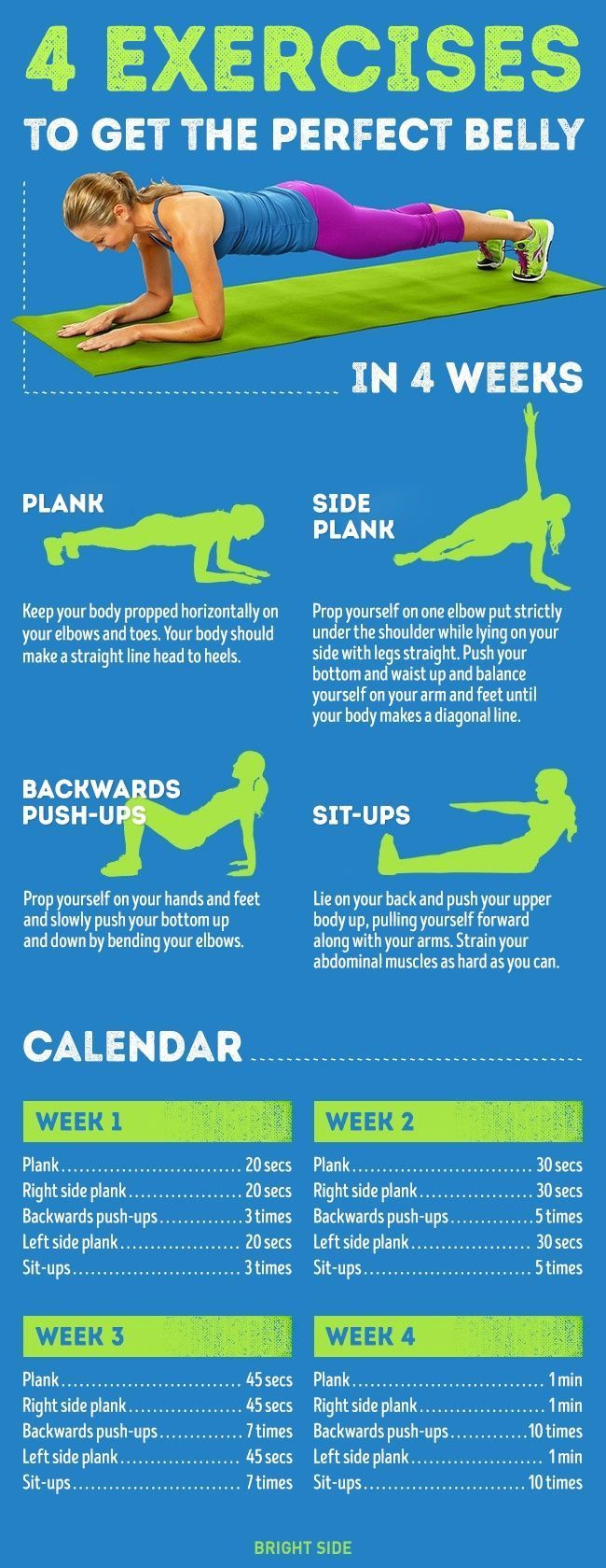 awesome Four simple exercises toget the perfect belly injust four weeks