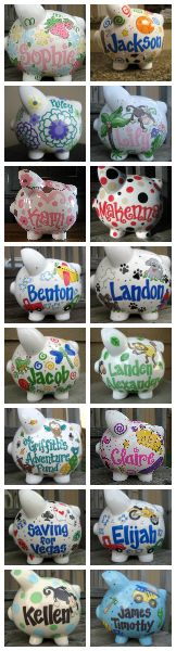 The best seller in my Etsy shop is by far my personalized piggy banks.  I enjoy creating custom designs to match bedding, or making one of my designs just right for my customers. (see more by visiting the shop.  You can click the above image, and then click it again to get there.  Go ahead and favorite me while you're there...you know you want to!)