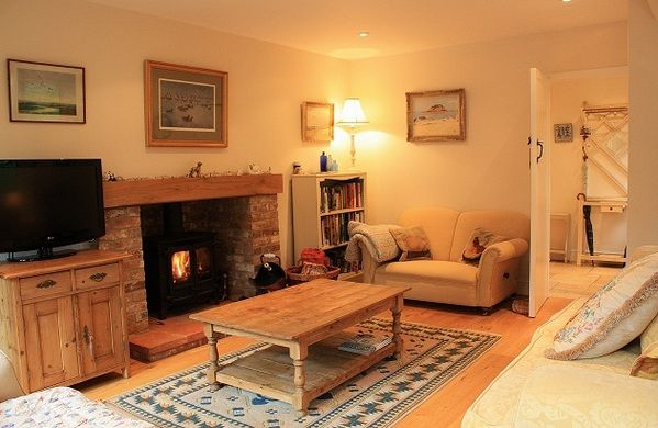 Cosy cottage living room and log burner