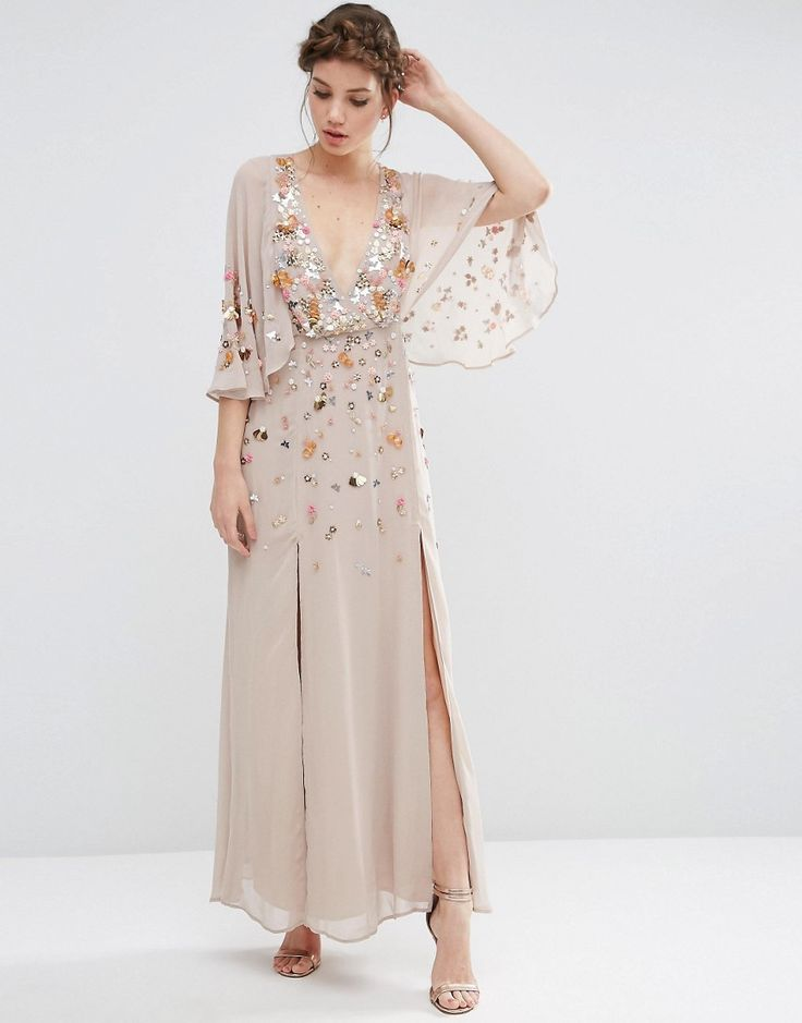 Image 1 of ASOS Pretty Embellished Deep Plunge Kimono Maxi Dress