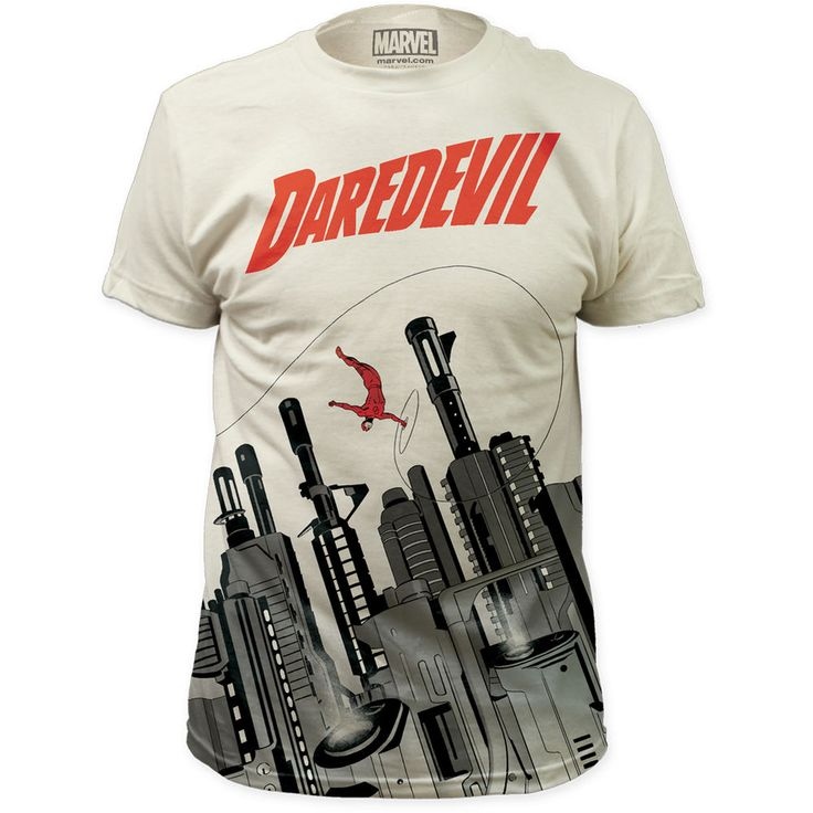 Daredevil Man Without Fear Gun City Marvel ComicAllOver Front Print T-Shirt Top #MarvelComics #GraphicTee