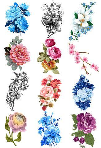 Vintage Flower Tattoo Set - Vintage Floral Tattoos