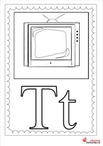 Litera T-Planșă de colorat