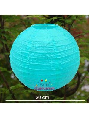 Açık Mavi Yuvarlak Fener Süs 1 adet (20 cm) fiyatı
